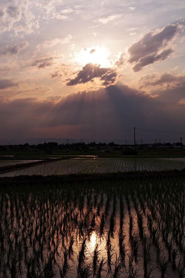 夕焼け空にあらわれた一瞬のダイヤモンド富士の作例写真