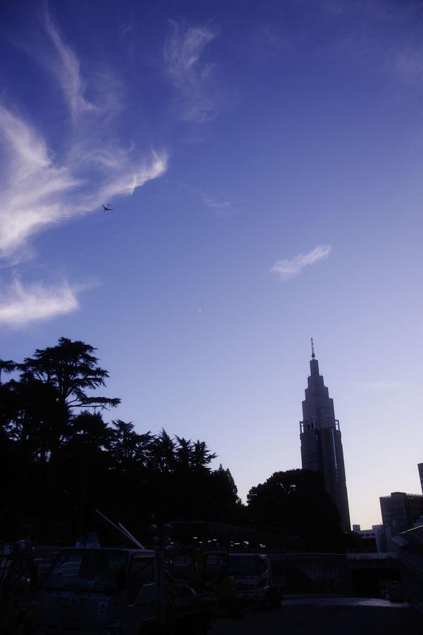 新宿の青い夕空の作例写真