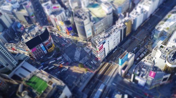 ミニチュア風の渋谷スクランブル交差点の作例写真