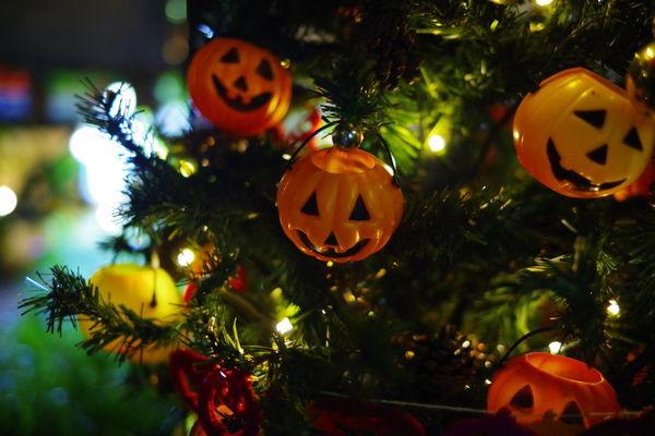 ライトアップされたハロウィンかぼちゃの作例写真