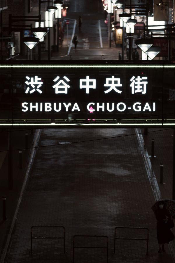 雨の日の渋谷中央街の夜の作例写真